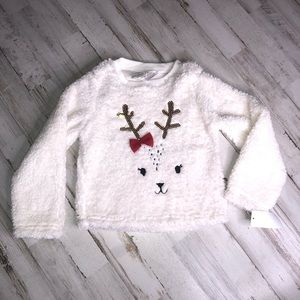 NWT Toddler Fuzzy Reindeer Sequins Fuzzy Sweater